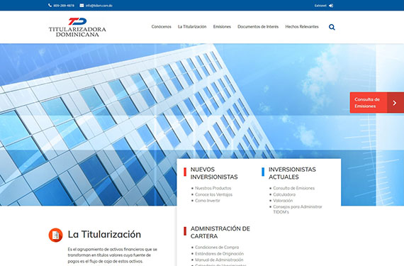 Website for Compañía Titularizadora Dominicana